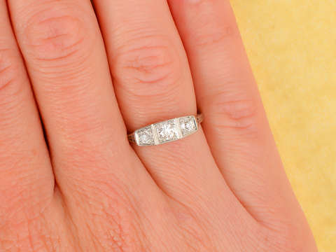 Art Deco Three Diamond Ring