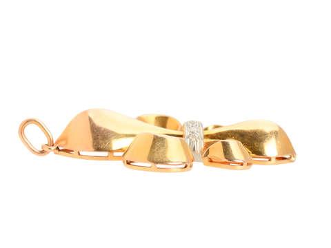 Vintage Fleur De Lis Diamond Pendant