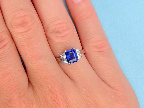 Azure Fireworks - Three Stone Trapezoid Diamond Ring