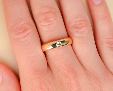 Set in Stone - Solitaire 14k Gold Antique Ring