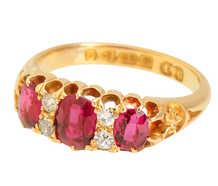 Natural Ruby Diamond Ring 18k Gold of 1903