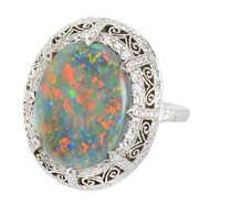 Lighting Ridge Black Opal Diamond Ring