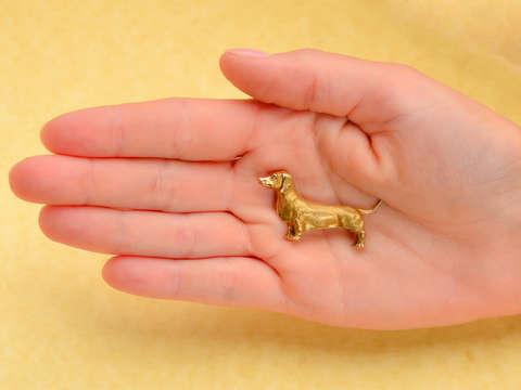 Vintage Dachshund Dog Gold Brooch