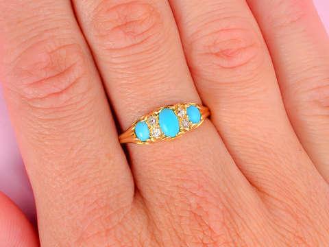 Victorian Turquoise Old Cushion Cut Diamond Ring