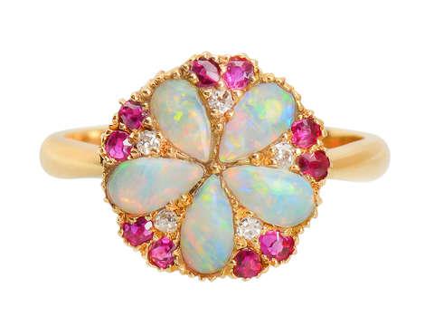 Edwardian Opal Ruby Diamond Ring