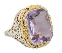 Art Deco Rose de France Amethyst Filigree Ring