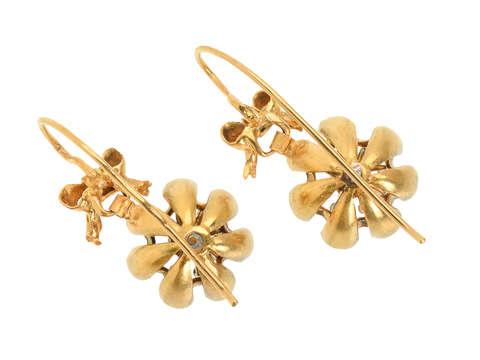 Victorian Diamond Bow & Drop Earrings