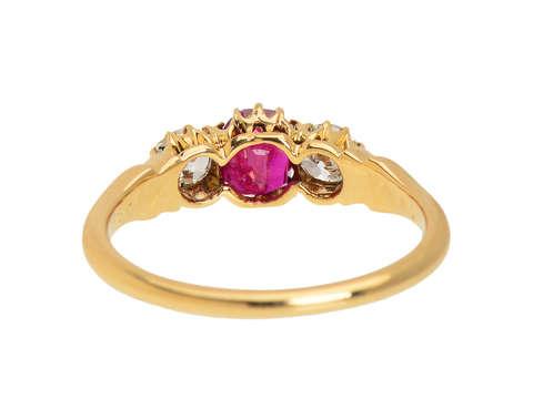 Ruby Radiance - Antique Three Stone Diamond Ring