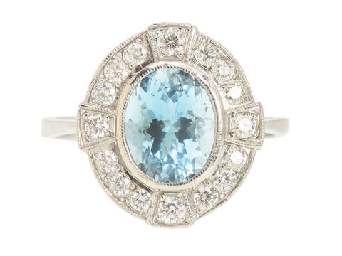 Vintage Aquamarine Diamond Platinum Ring