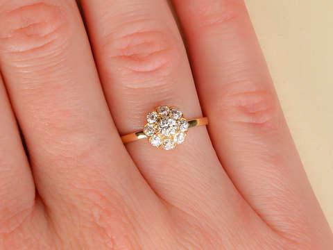Diamond Delight - Antique Cluster Halo Ring