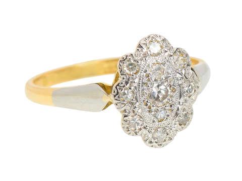 Edwardian Diamond Scalloped Shaped Engagement Ring