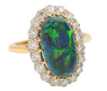 Dark Mystery - Black Opal Diamond Ring