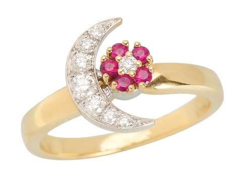 Teufel Motion Ring Ruby Diamond Moon Star