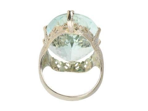 Vintage Huge Aquamarine Filigree Ring