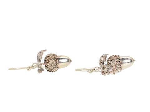 Harvest - Victorian Silver Acorn Earrings