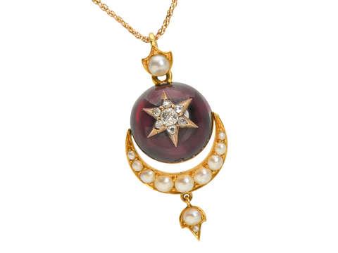 Victorian Garnet Moon & Star Pendant & Chain