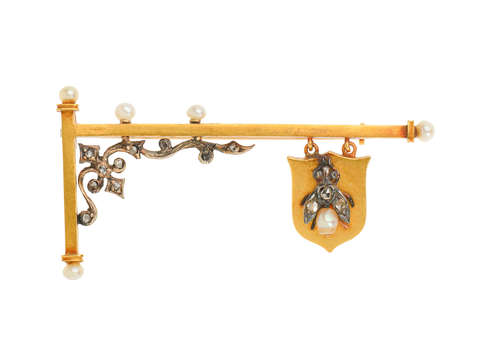 Victorian Whimsy - Signpost Brooch with Fly