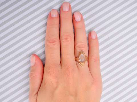 Moonstone & Marquise - Vintage Gold Ring