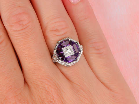 Vintage Amethyst Filigree Ring with Dragonflies