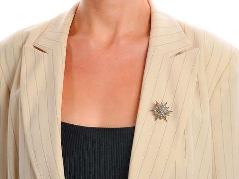 Victorian Rays - Diamond Star Brooch Pendant