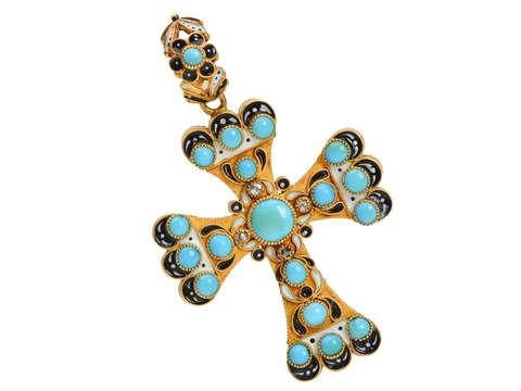 Victorian Renaissance Revival Turquoise Enamel Cross