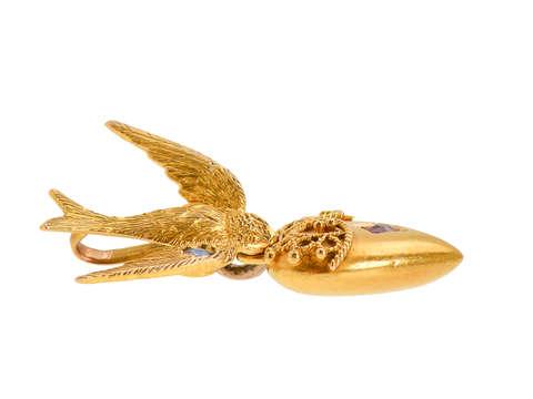 Love on the Wing - Antique Bird & Heart Pendant