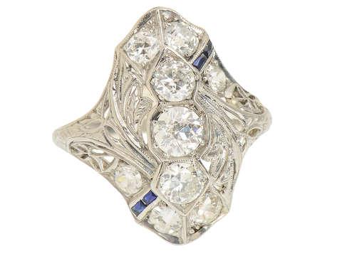 Art Deco Extravaganza - Diamond Sapphire Ring