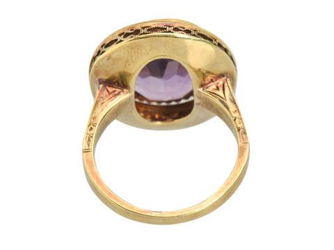 Amethyst Enamel Art Deco Ring