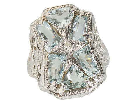 Daisy Flower Aquamarine Filigree Vintage Ring