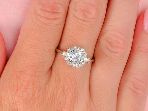 Certainty - Aquamarine Baguette Diamond Ring