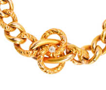 Gold Art Nouveau Diamond Love Knot Bracelet