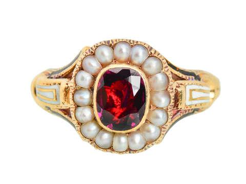 Victorian Enamel Rhodolite Garnet Pearl Ring