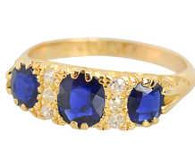Antique Sapphire Diamond Ring of 1907
