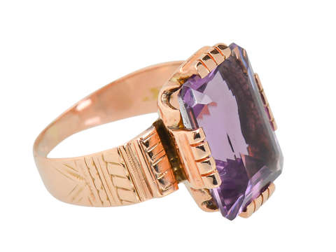 Victorian Amethyst Rose Gold Ring