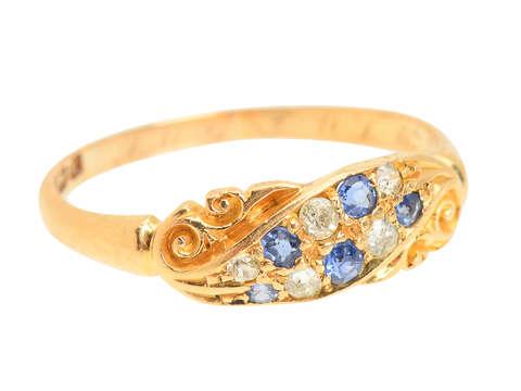 Sapphire Diamond 18k Gold Ring of 1906