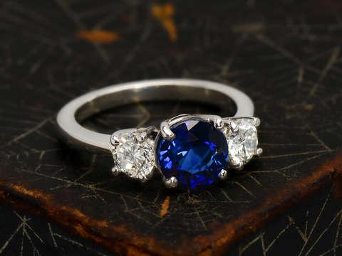 Fine Sapphire & Diamond Three Stone Ring