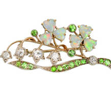 Opal Demantoid Clover & Lily of the Valley Brooch