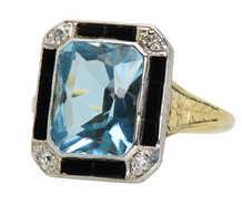 Contrast - Aquamarine Onyx Diamond Ring