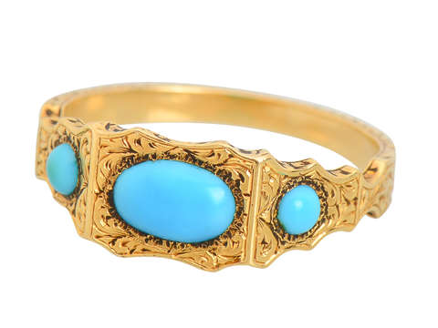 Antique Victorian Persian Turquoise Gold Ring