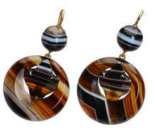 Victorian Banded Agate Dangle Earrings