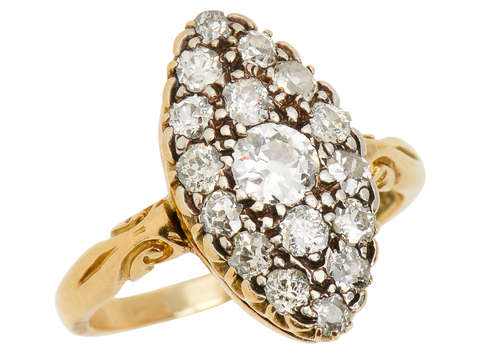 Victorian Diamond Marquise Shaped Ring