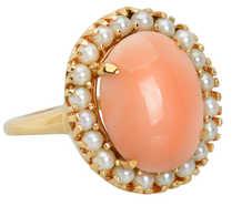 Vintage Angel Skin Coral & Cultured Pearl Ring