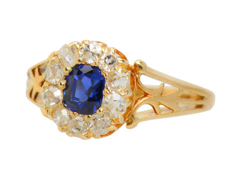 Inescapable - Sapphire Old Mine Cut Diamond Ring