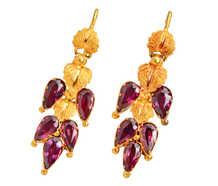 Falling Leaves - Victorian Garnet Gold Earrings