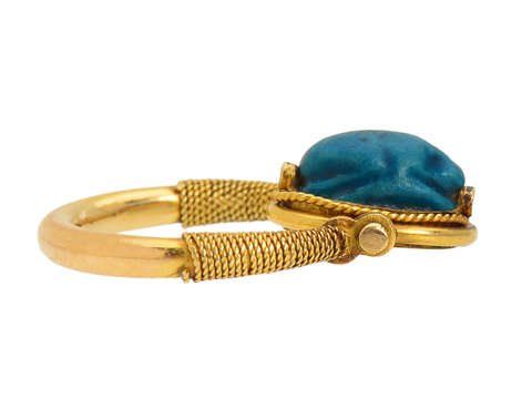 Faience Scarab Gold Swivel Ring