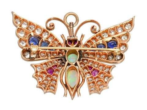 Exceptional J.E. Caldwell Diamond Gem Set Butterfly Pendant Brooch