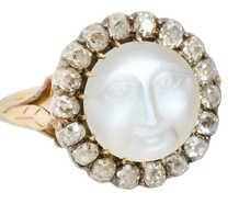 Victorian Man in the Moon Moonstone Diamond Ring