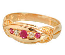 Gypsy Set Edwardian Antique Ruby Diamond Ring