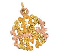 Antique Three-Color Gold Ornate Initials Pendant