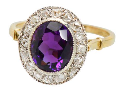 Fine Amethyst & Rose Cut Diamond Ring
